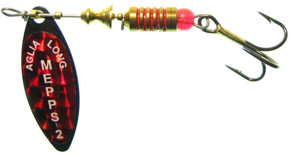 Блесна вращающаяся Mepps Aglia Long Redbo Black 0, 2.5 гр