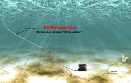 Фидерный монтаж LimanFish Патерностер с поводком, Кормушка LimanFish краш. 70гр