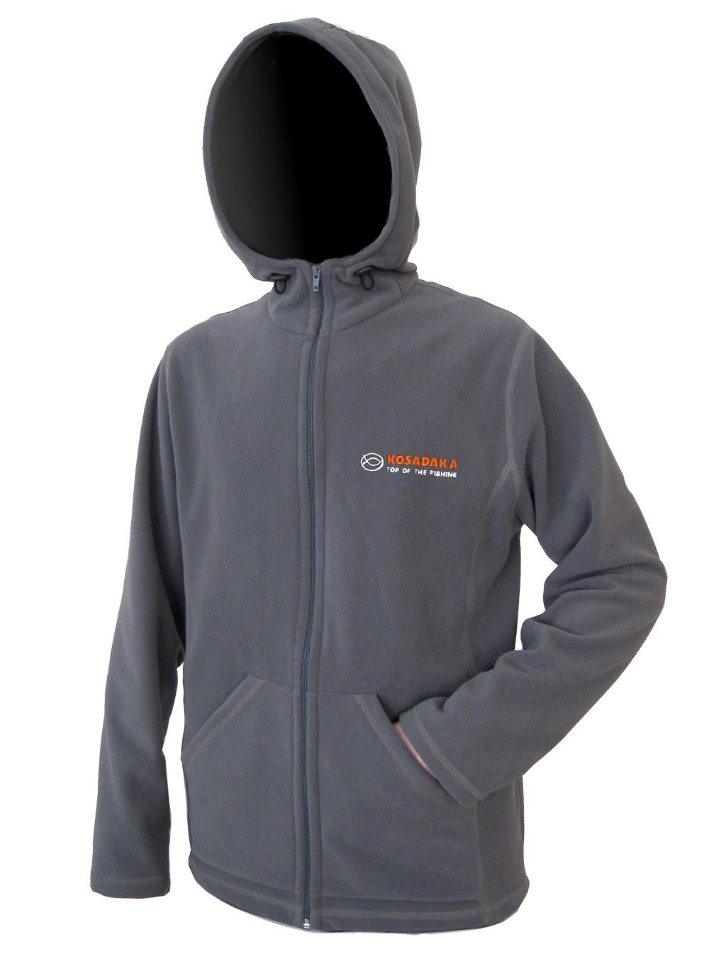 Куртка флисовая Kosadaka JF01 с капюшоном серая XXL/52-54
