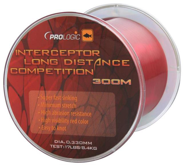 PROLOGIC  Леска Interceptor Competition Long Distance 300m 17lbs 8.4kg 0.33mm  Red 47210