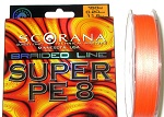 Леска плетеная Scorana SUPER PE 8, 150m, Оранж., 0.12mm
