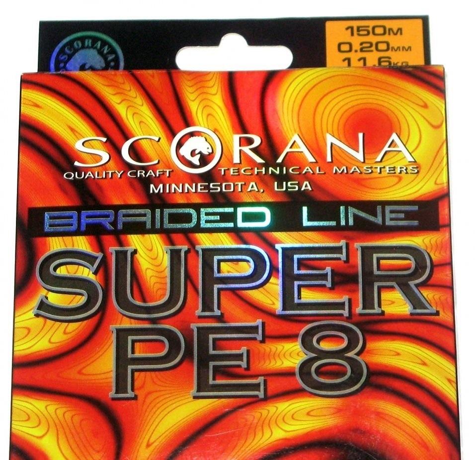 Леска плетеная Scorana SUPER PE 8, 150m, Темн. Зелен., 0.10mm