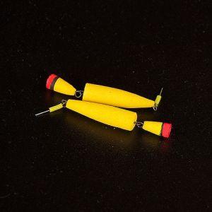 Поплавок зимний ТОЧЕНЫЙ ДВОЙНОЙ желтый малый