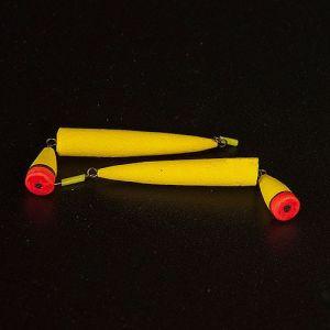 Поплавок зимний ТОЧЕНЫЙ ДВОЙНОЙ желтый большой