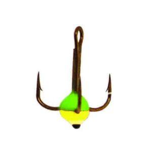 Крючок-тройник для приманок Lucky John с каплей цвет. разм.012/GRY