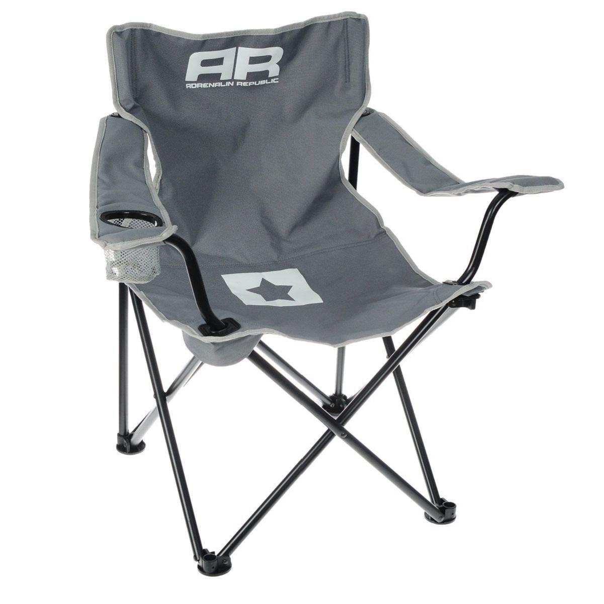 Складной стул Adrenalin Republic Mac Tag Sr. Gray (подлокотники, держатель стакана)