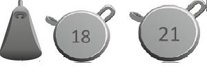 Набор грузил IZUMI Umami Weights H pack (18гр x 2 шт. + 21гр. x 2 шт.), 4 шт в упак.